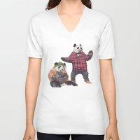 big poppa V-neck T-shirts featuring big poppa panda by K.Fields