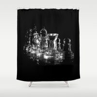 chess Shower Curtains featuring CHESS by  Monochromania/Anne Seltmann