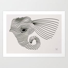 Elephant line drawing Art Print
