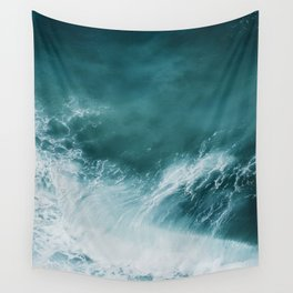 Teal Sea Waves Wall Tapestry