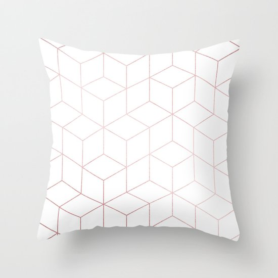 Simply Cubic in Rose Gold Sunset Throw Pillow