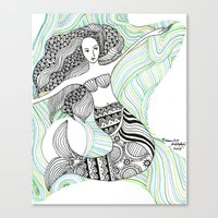 mermaids Canvas Prints featuring Mermaids by winnie patterson