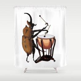 Beetle Tries Timpani Shower Curtain