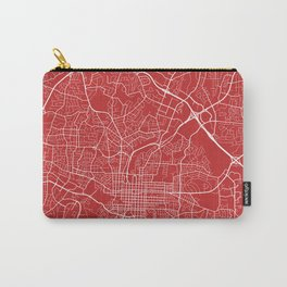 Raleigh Map, USA - Red Carry-All Pouch