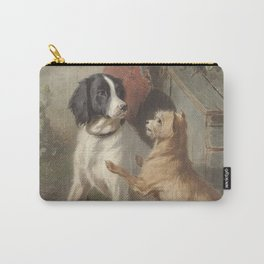 Conradijn Cunaeus - Two dogs in front of a doghouse (1838 - 1895) Carry-All Pouch