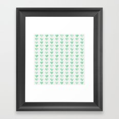 Watercolor Green Hearts Framed Art Print