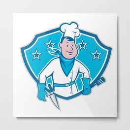 Chef Cook Star Shield Metal Print