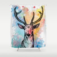 stag Shower Curtains featuring Stag by Sara Soto