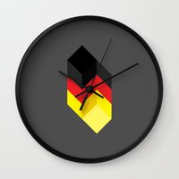 germany Wall Clocks featuring Germany by Dizzy Moments