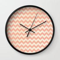 peach Wall Clocks featuring Peach by C Designz