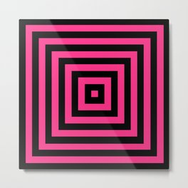 GRAPHIC GRID BOX SWIRL ABSTRACT DESIGN (BLACK AND HOT PINK) SERIES 6 OF 6 Metal Print