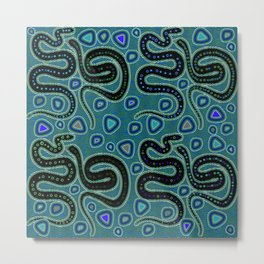 Snake Totem Seamless Blue Tapas Design Metal Print