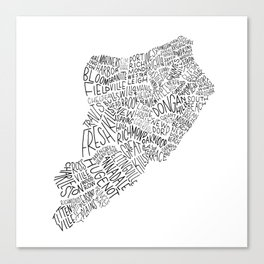 Staten Island - Hand Lettered Map Canvas Print