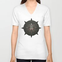 calendars V-neck T-shirts featuring Stone of the Sun I. by Dr. Lukas Brezak