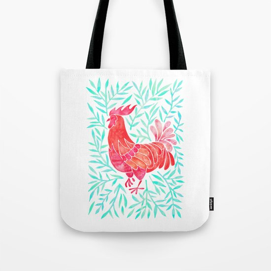 Le Coq – Watercolor Rooster with Mint Leaves Tote Bag