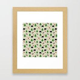 Moose & Bear Pattern Framed Art Print