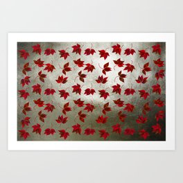 Red Leaves on Silver Golden Metal Art Print