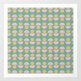 Scandinavian Geometric Pattern in Green, Lavender and Yellow Art Print