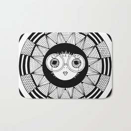 white puffer fish on abstract background. vector. zentangl. graphic arts Bath Mat