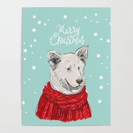 Merry Christmas New Year's card design White dog in a Christmas red knitted sweater. Shepherd Sketch Poster