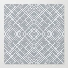 Map Outline 45 Grey Repeat Canvas Print