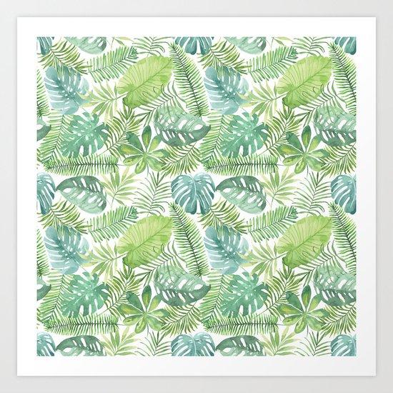 Tropical Branches Pattern 08 Art Print