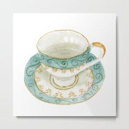 Mint Green Teacup Watercolor Illustration Metal Print