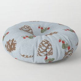 pinecones and forest berries pattern blue Floor Pillow