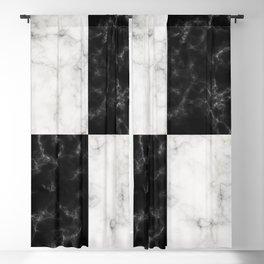 Bold Black & White Marble Pattern Blackout Curtain