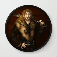 fili Wall Clocks featuring Fili in Red by wolfanita