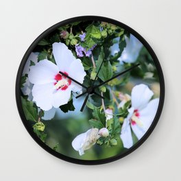 Naturally Beautiful - White Hibiscus Wall Clock