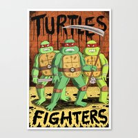 foo fighters Canvas Prints featuring TURTLES FIGHTERS by Jack Teagle