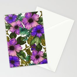Purple Watercolor Flowers Stationery Cards