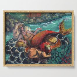 zodiac mermaid: leo Serving Tray