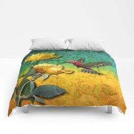 Hummingbird Gold Roses & Damask Comforters
