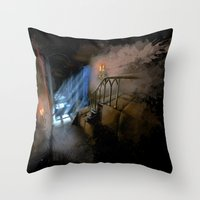 castlevania Throw Pillows featuring Castlevania: Vampire Variations- Hall by LightningArts