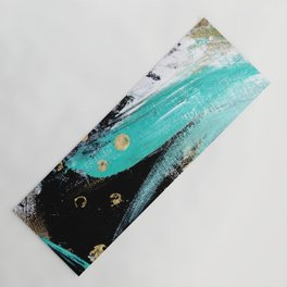 Fairy Dreams: an abstract mixed media piece in black, white, teal, and gold Yoga Mat
