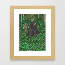 Black Bear & Huckleberry Framed Art Print