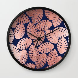 Elegant navy blue faux rose gold tropical leaves Wall Clock