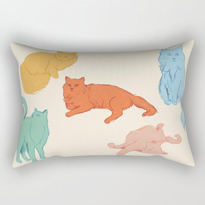 Cattitude - Cat illustration print Rectangular Pillow