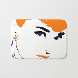Audrey So Beautful In Orange and Blue Bath Mat