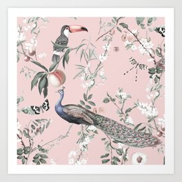 Oriental Peacock Pink Art Print
