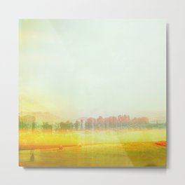 Abstract Yellow Landscape, Modern Southewest Metal Print