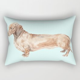 A long dog: Dachshund doxie puppy dog watercolor pet portrait Rectangular Pillow