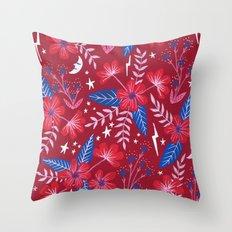 Red Moon Garden Throw Pillow