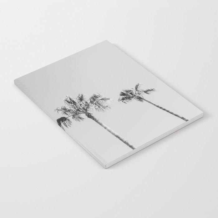 Black Palms // Monotone Gray Beach Photography Vintage Palm Tree Surfer Vibes Home Decor Notebook