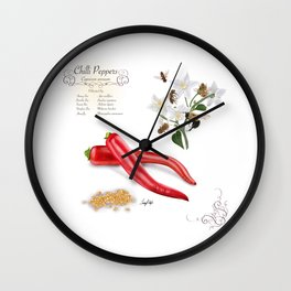 Chilli Peppers and Pollinators Wall Clock