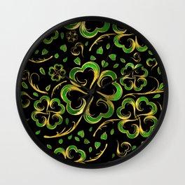 Irish Shamrock Four-leaf Lucky Clover Pattern Wall Clock