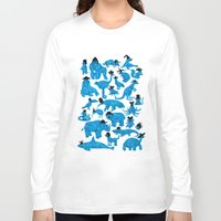 bedding Long Sleeve T-shirts featuring Blue Animals Black Hats by WanderingBert / David Creighton-Pester