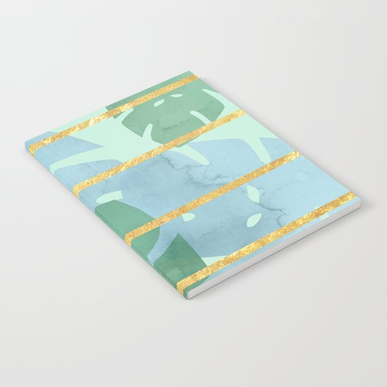 Leaves Pattern Golden Stripes Notebook